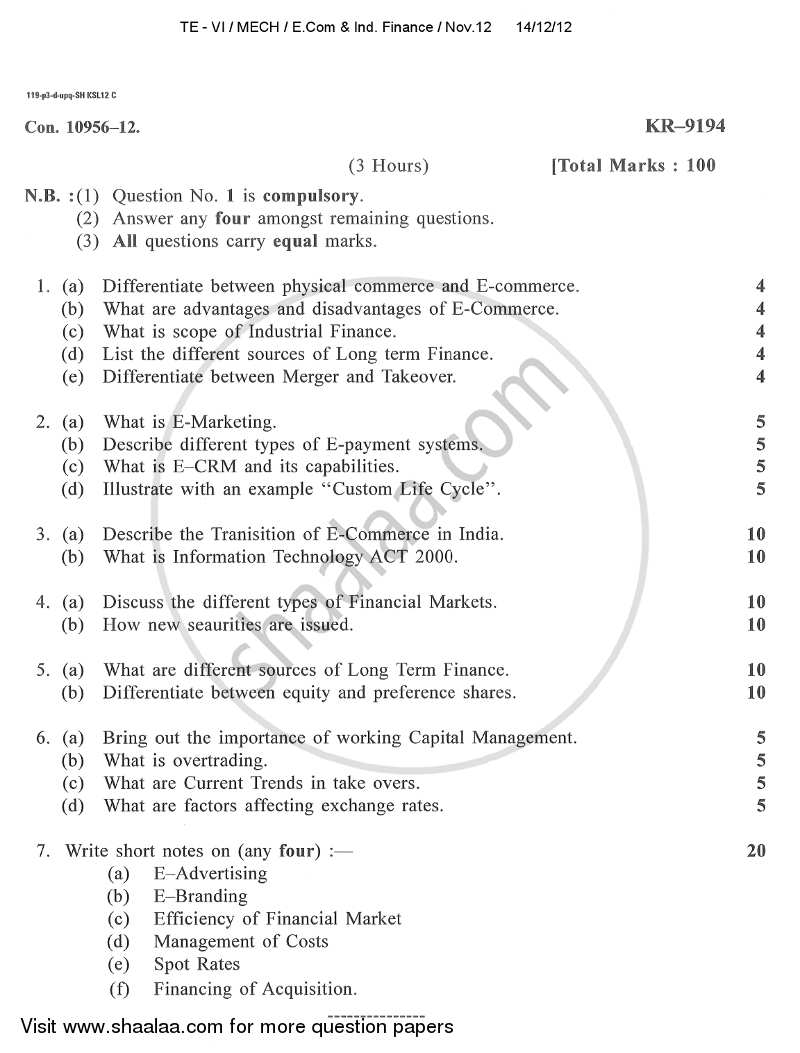 Question Paper - E-commerce and Industrial Finance 2012 - 2013 - B.E. - Semester 6 (TE Third Year) - University of Mumbai
