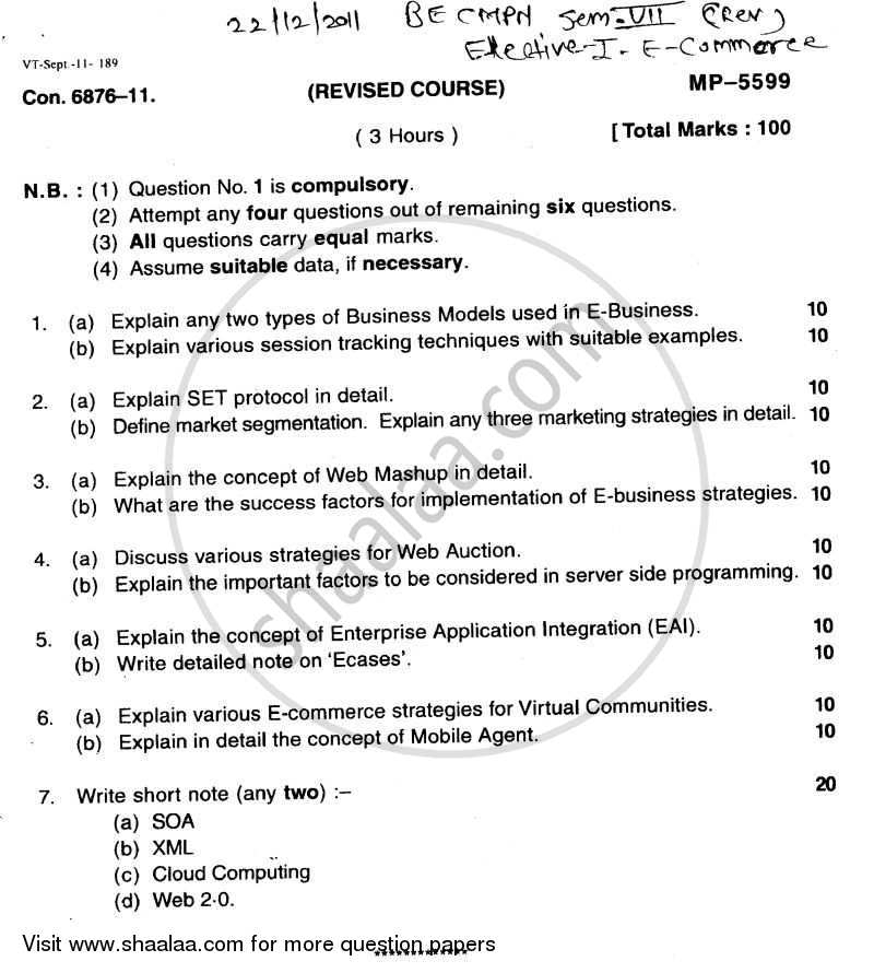Question Paper - E-commerce 2011 - 2012 - B.E. - Semester 7 (BE Fourth Year) - University of Mumbai