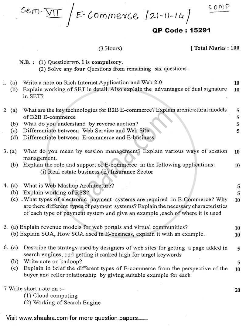 Question Paper - E-commerce 2014 - 2015 - B.E. - Semester 7 (BE Fourth Year) - University of Mumbai