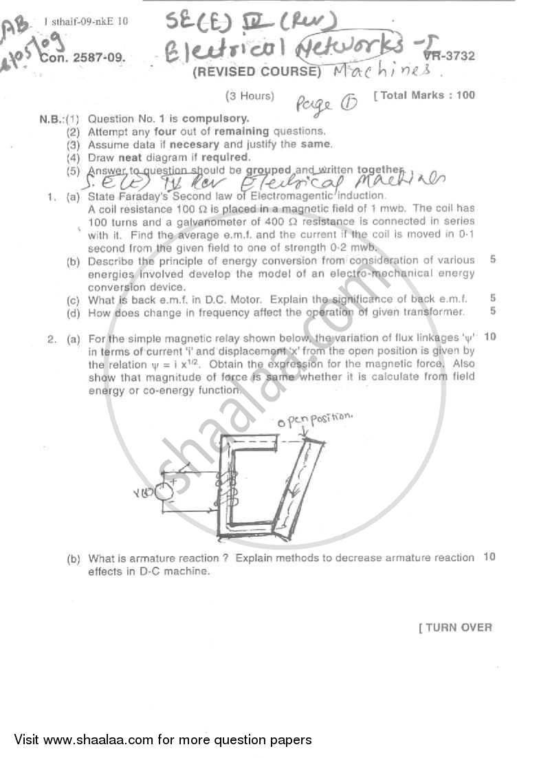 Question Paper - Electrical Machines 1 2008 - 2009 - B.E. - Semester 4 (SE Second Year) - University of Mumbai