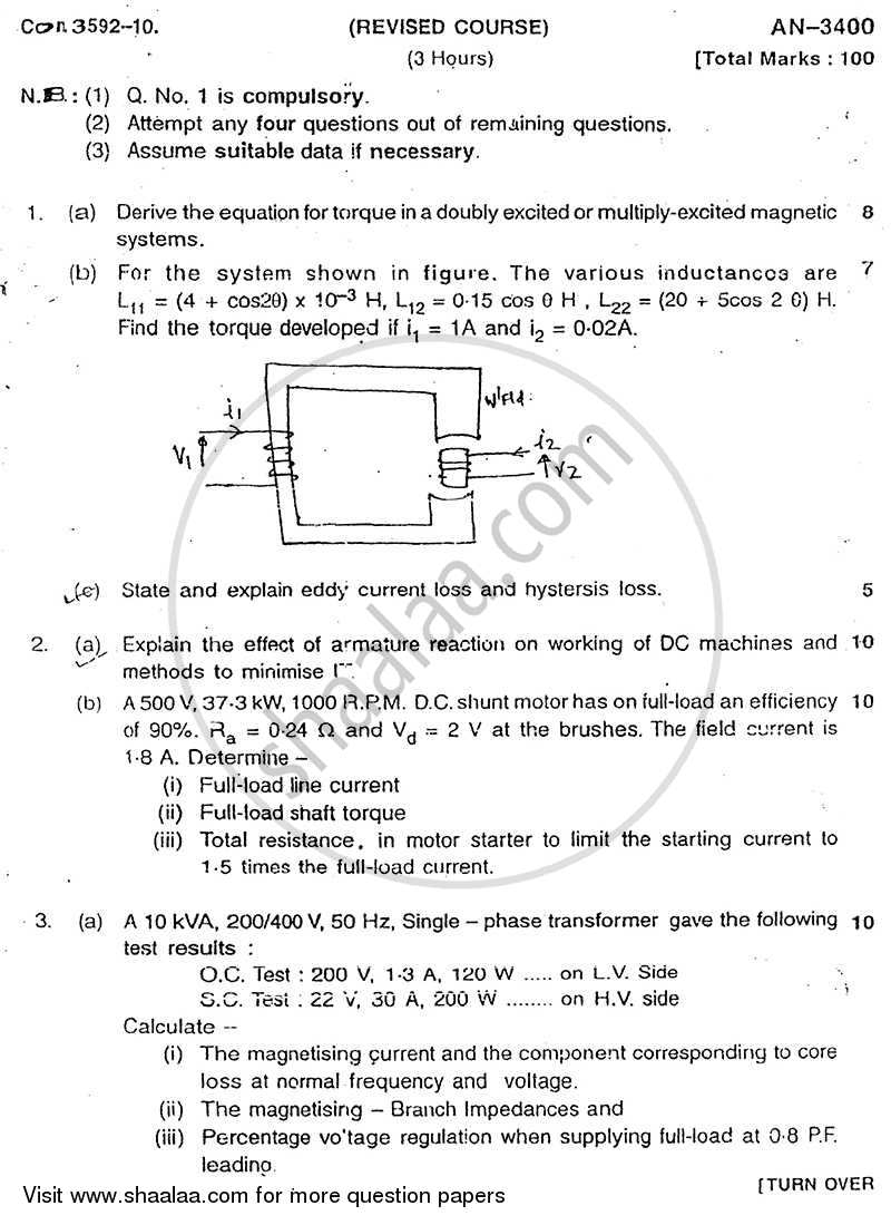 Question Paper - Electrical Machines 1 2009 - 2010 - B.E. - Semester 4 (SE Second Year) - University of Mumbai