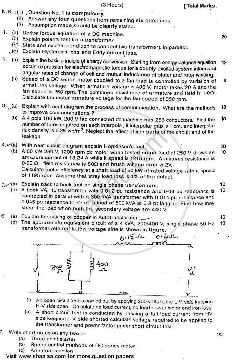 Question Paper - Electrical Machines 1 2011 - 2012 - B.E. - Semester 4 (SE Second Year) - University of Mumbai