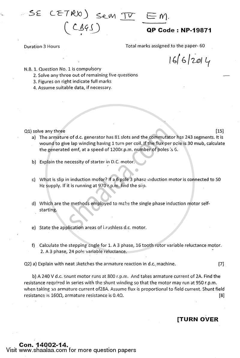 Question Paper - Electrical Machines 2013 - 2014 - B.E. - Semester 4 (SE Second Year) - University of Mumbai