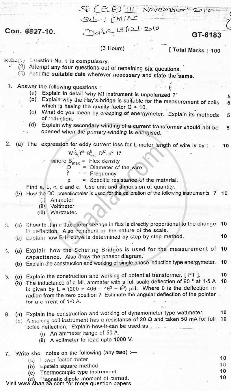Question Paper - Electrical Measurements and Measuring Instruments 2010 - 2011 - B.E. - Semester 3 (SE Second Year) - University of Mumbai