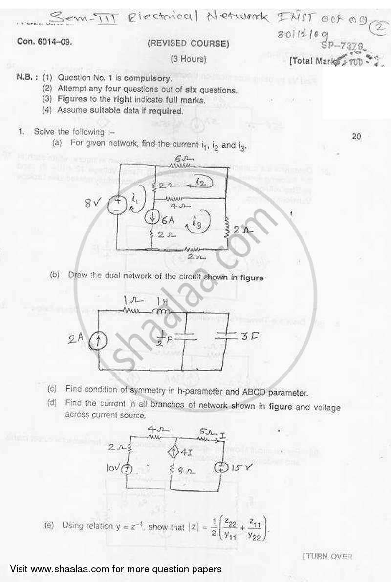 Question Paper - Electrical Network Analysis and Synthesis 2009 - 2010-B.E.-Semester 3 (SE Second Year) University of Mumbai