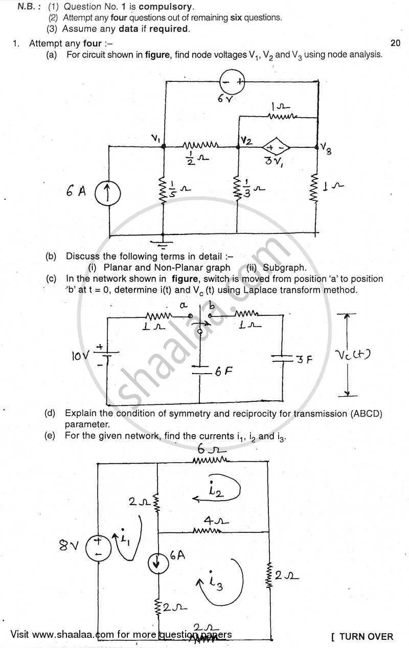 Question Paper - Electrical Network Analysis and Synthesis 2010 - 2011 - B.E. - Semester 3 (SE Second Year) - University of Mumbai