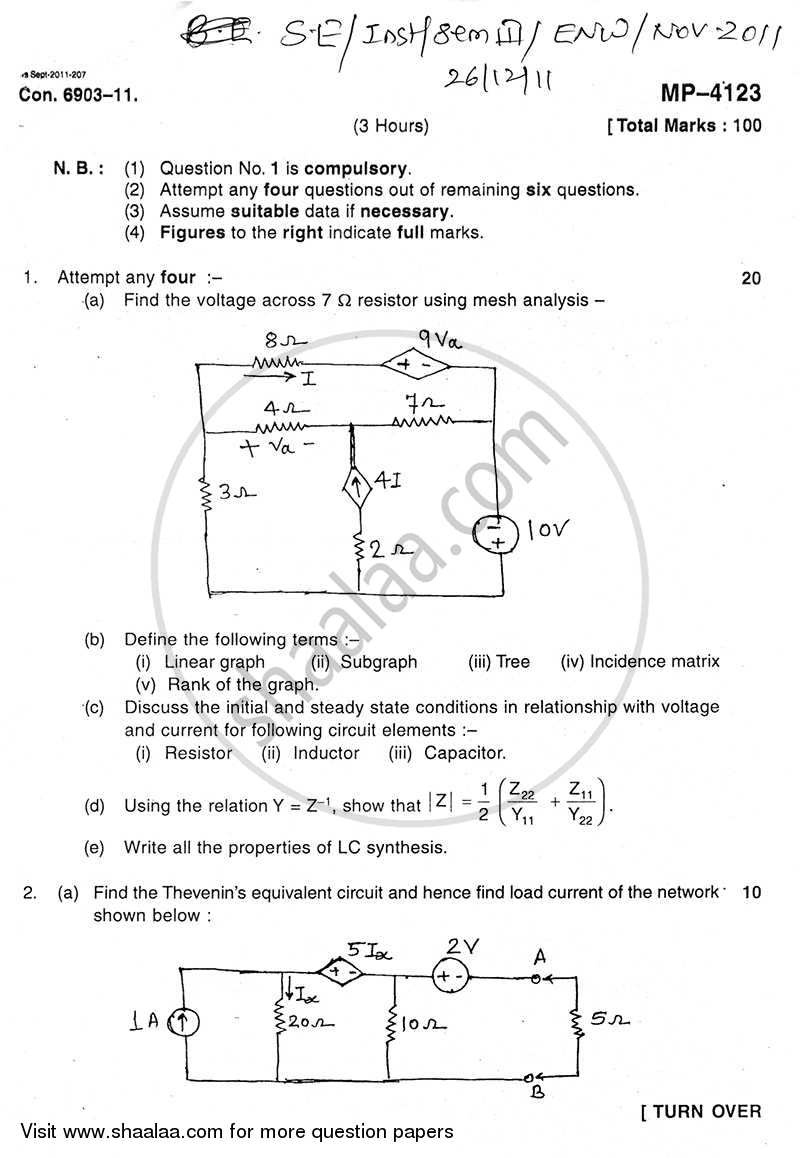 Question Paper - Electrical Network Analysis and Synthesis 2011 - 2012 - B.E. - Semester 3 (SE Second Year) - University of Mumbai