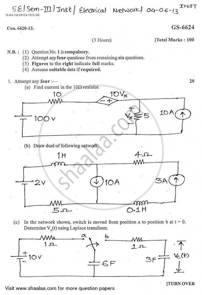 Question Paper - Electrical Networks 1 2012 - 2013 - B.E. - Semester 3 (SE Second Year) - University of Mumbai