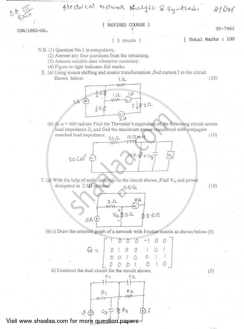 Question Paper - Electrical Networks Analysis and Synthesis 2005 - 2006 - B.E. - Semester 3 (SE Second Year) - University of Mumbai