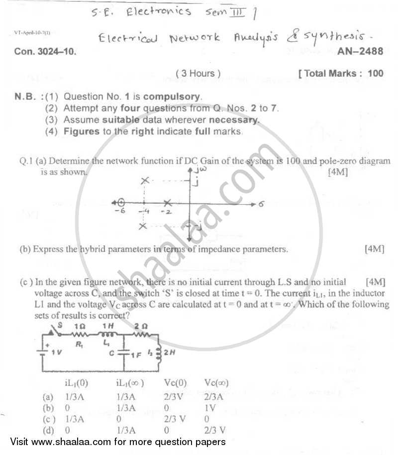Question Paper - Electrical Networks Analysis and Synthesis 2009 - 2010 - B.E. - Semester 3 (SE Second Year) - University of Mumbai