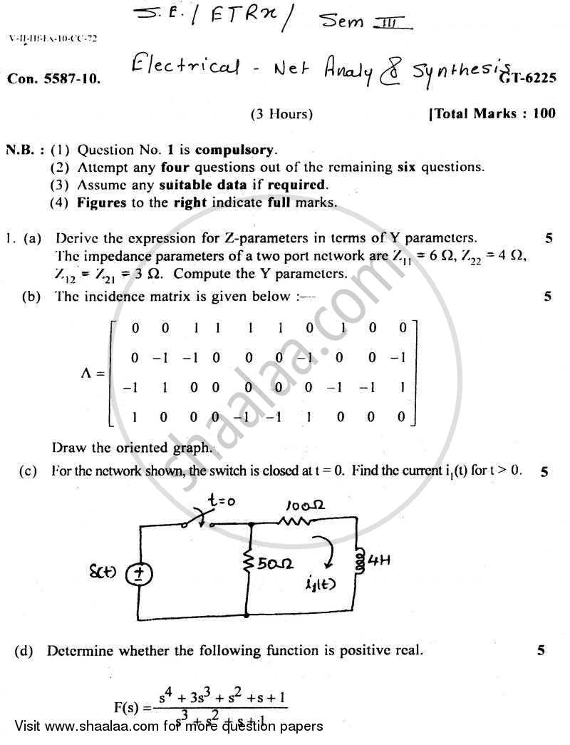 Question Paper - Electrical Networks Analysis and Synthesis 2010 - 2011-B.E.-Semester 3 (SE Second Year) University of Mumbai