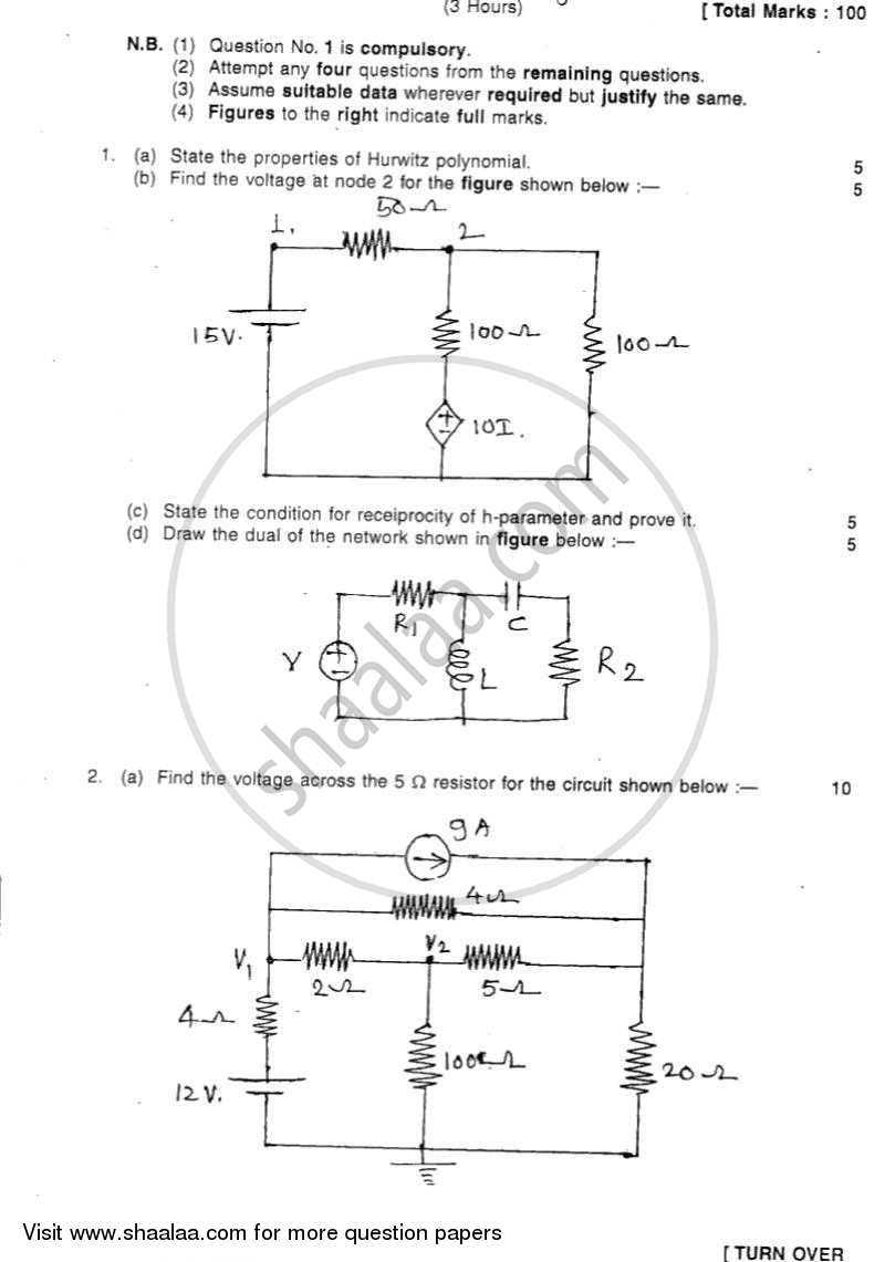 Question Paper - Electrical Networks Analysis and Synthesis 2011 - 2012 - B.E. - Semester 3 (SE Second Year) - University of Mumbai