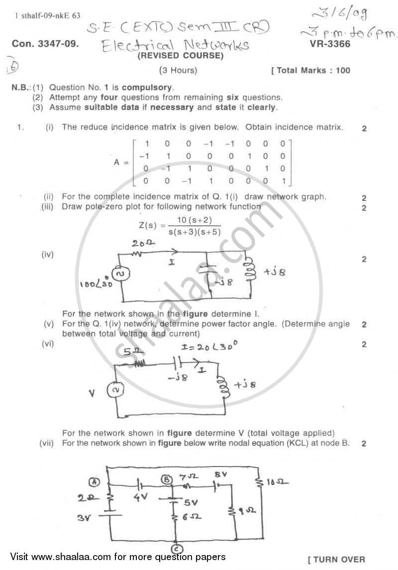 Question Paper - Electrical Networks 2008 - 2009 - B.E. - Semester 3 (SE Second Year) - University of Mumbai