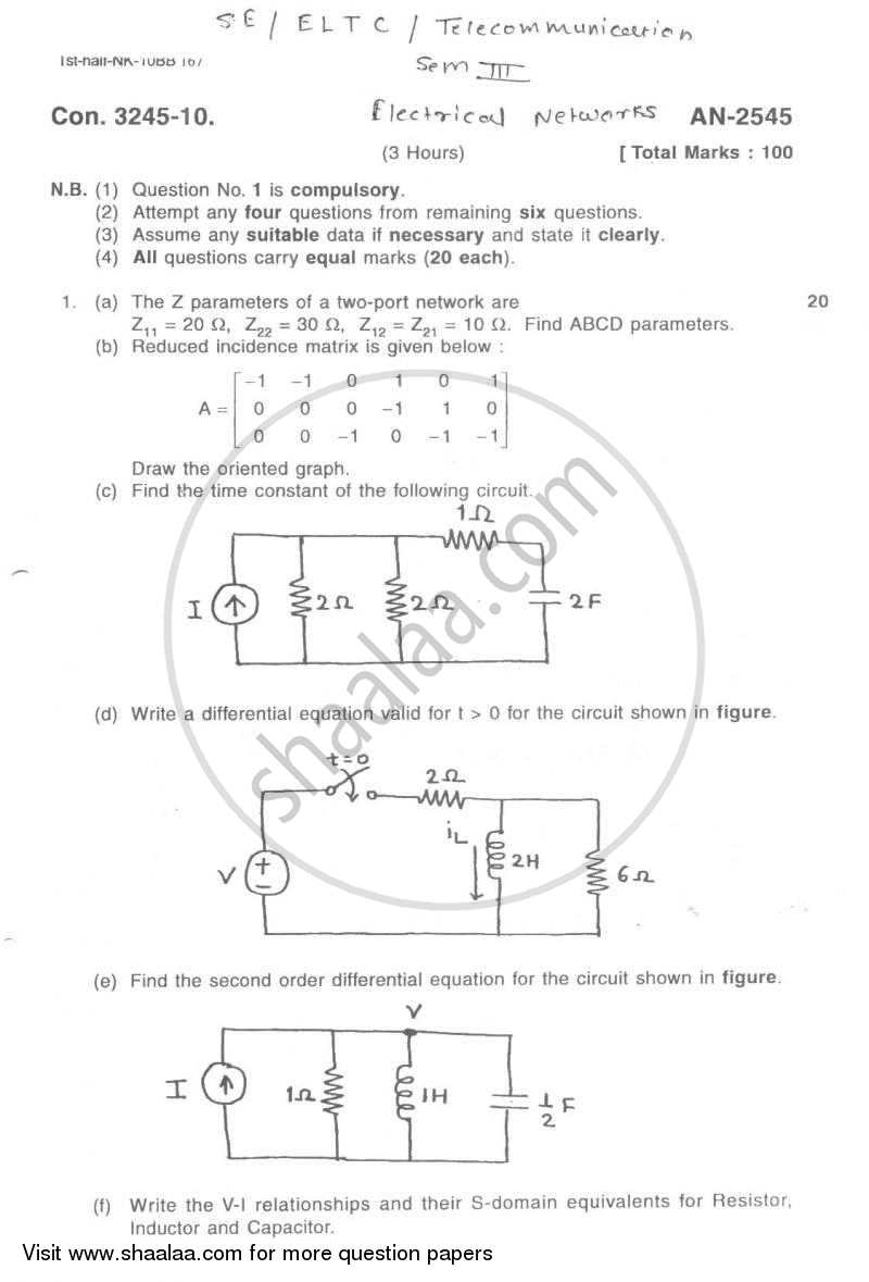 Question Paper - Electrical Networks 2009 - 2010 - B.E. - Semester 3 (SE Second Year) - University of Mumbai