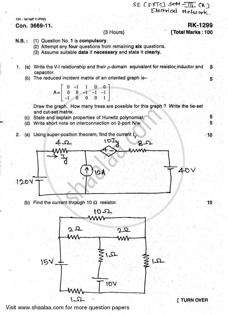Question Paper - Electrical Networks 2010 - 2011 - B.E. - Semester 3 (SE Second Year) - University of Mumbai