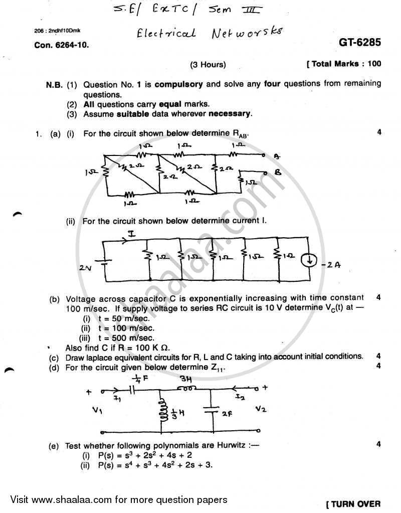 Question Paper - Electrical Networks 2010 - 2011-B.E.-Semester 3 (SE Second Year) University of Mumbai