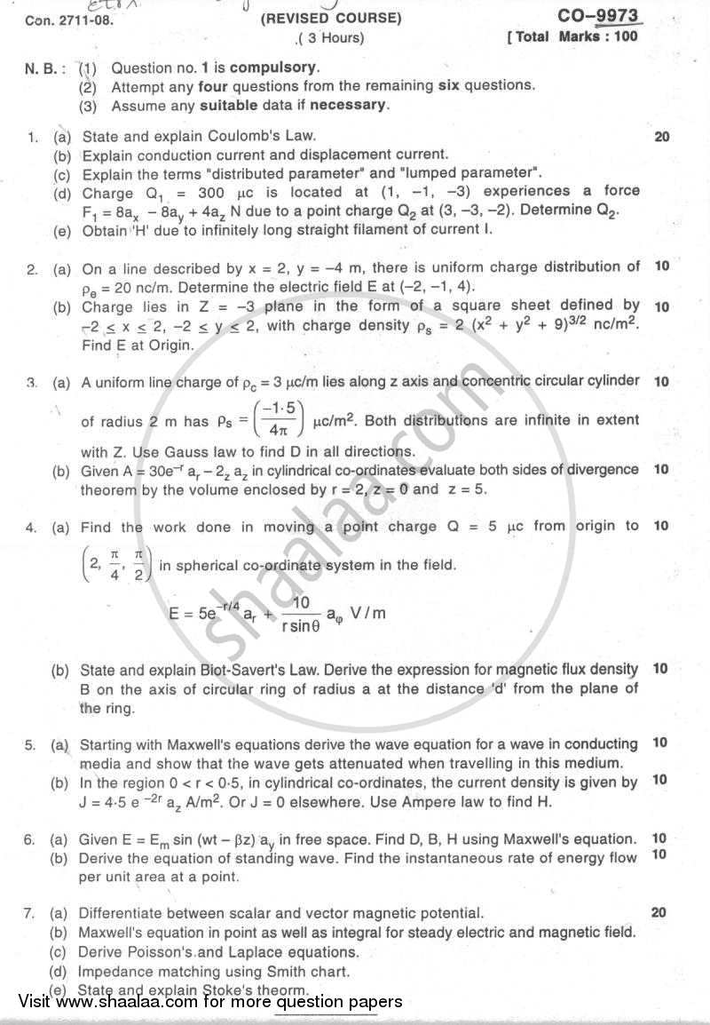 Question Paper - Electromagnetic Engineering 2007 - 2008-B.E.-Semester 5 (TE Third Year) University of Mumbai