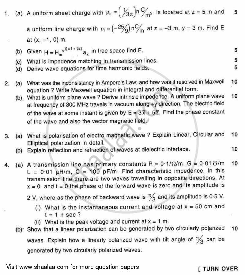 Question Paper - Electromagnetic Engineering 2011 - 2012 - B.E. - Semester 5 (TE Third Year) - University of Mumbai