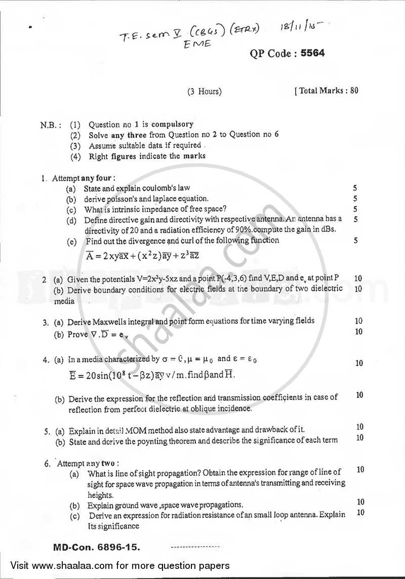 Question Paper - Electromagnetic Engineering 2015 - 2016 - B.E. - Semester 5 (TE Third Year) - University of Mumbai