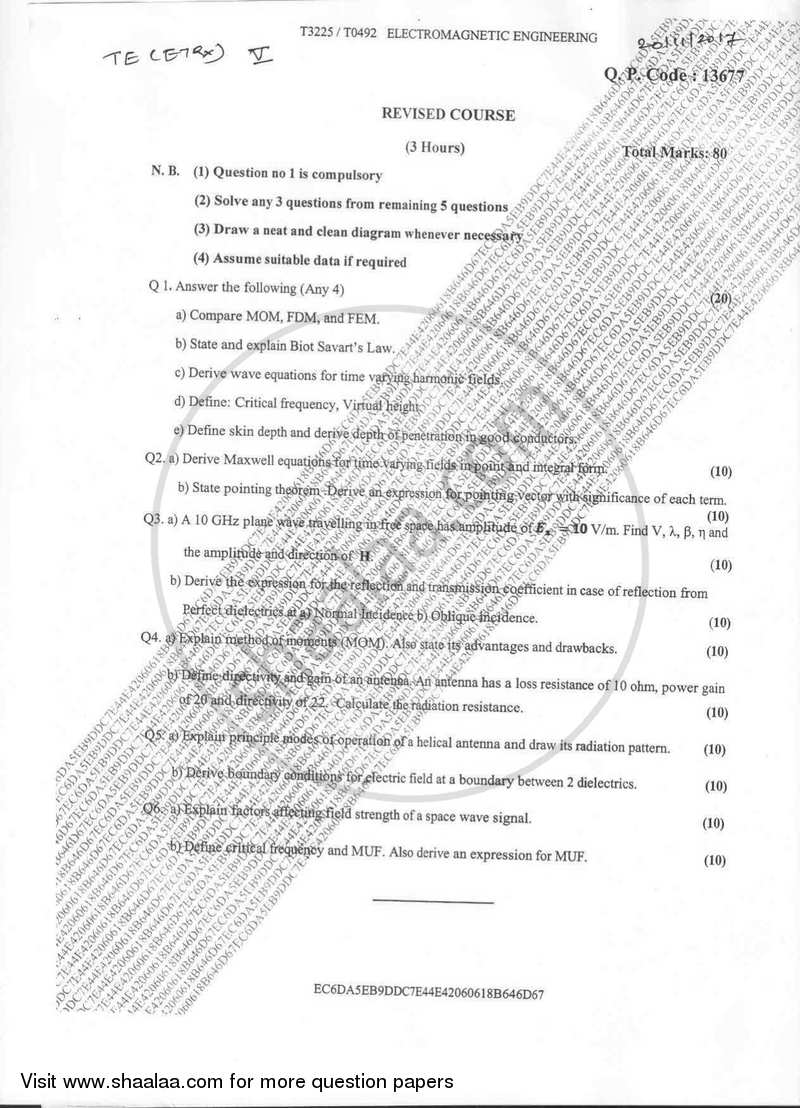 Question Paper - Electromagnetic Engineering 2017-2018 - B.E. - Semester 5 (TE Third Year) - University of Mumbai with PDF download
