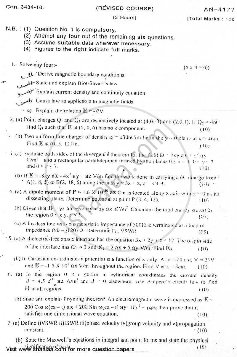 Question Paper - Electromagnetic Fields and Waves 2009 - 2010 - B.E. - Semester 5 (TE Third Year) - University of Mumbai
