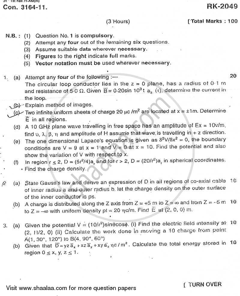 Electromagnetic Fields and Waves 2010-2011 - B.E. - Semester 5 (TE Third Year) - University of Mumbai question paper with PDF download