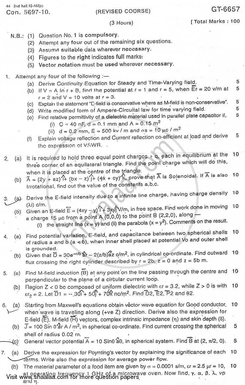 Question Paper - Electromagnetic Fields and Waves 2010 - 2011 - B.E. - Semester 5 (TE Third Year) - University of Mumbai