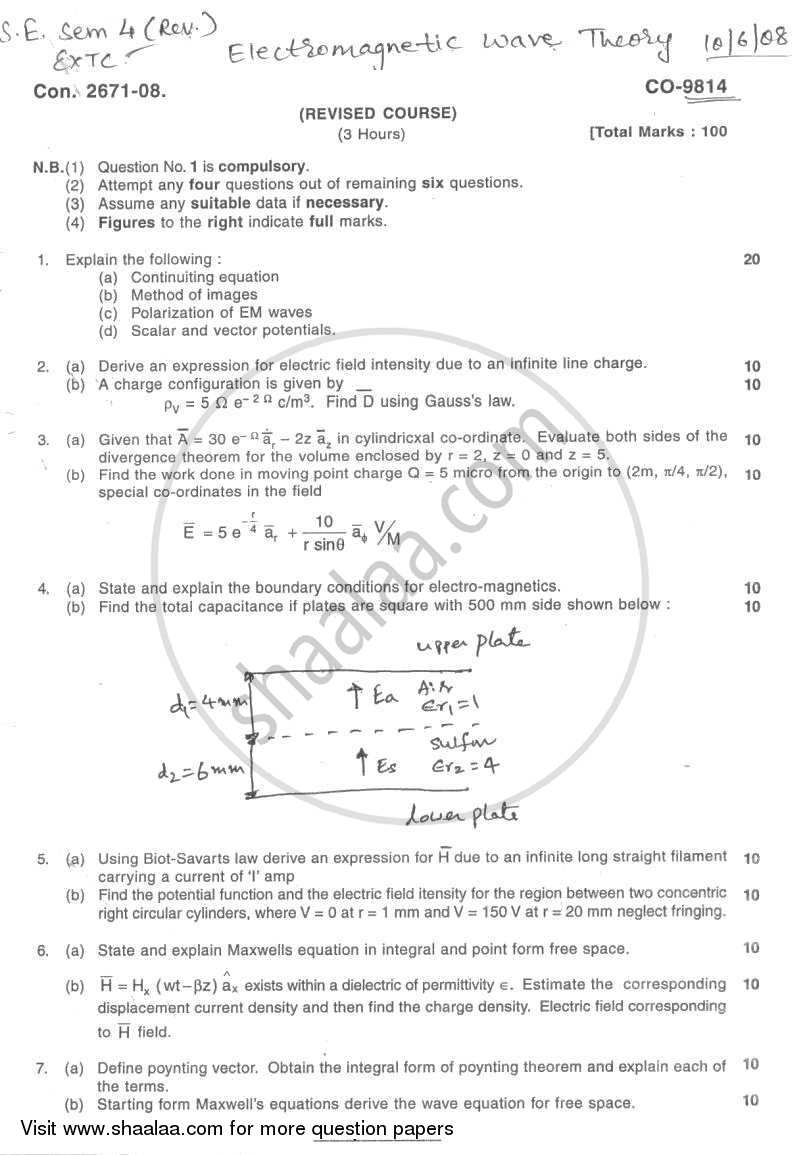 Question Paper - Electromagnetic Wave Theory 2007 - 2008 - B.E. - Semester 4 (SE Second Year) - University of Mumbai