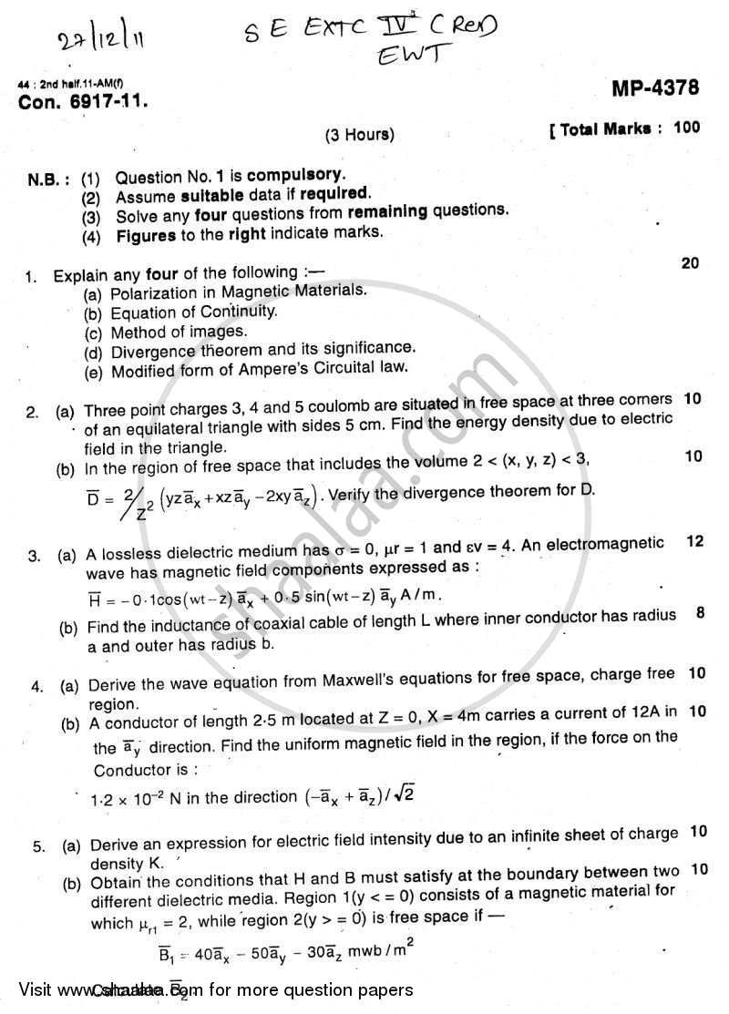 Question Paper - Electromagnetic Wave Theory 2011 - 2012 - B.E. - Semester 4 (SE Second Year) - University of Mumbai