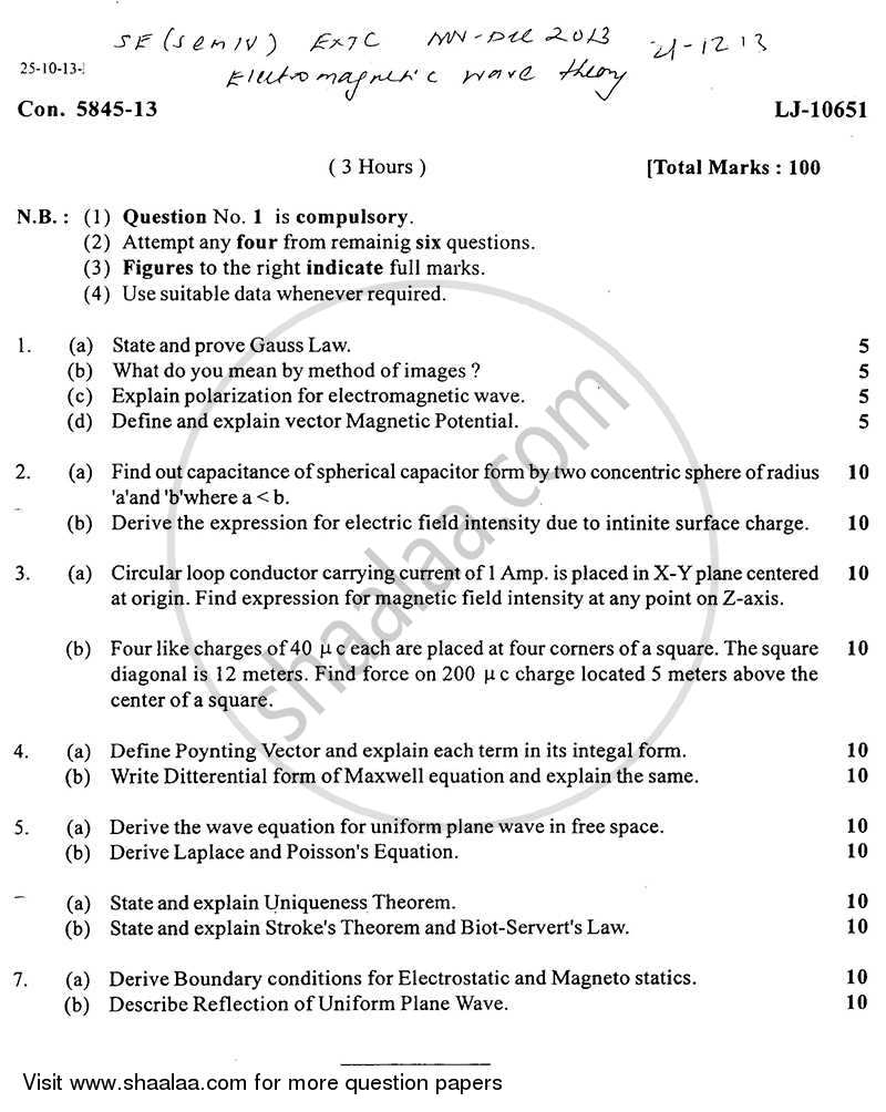 Question Paper - Electromagnetic Wave Theory 2013 - 2014 - B.E. - Semester 4 (SE Second Year) - University of Mumbai