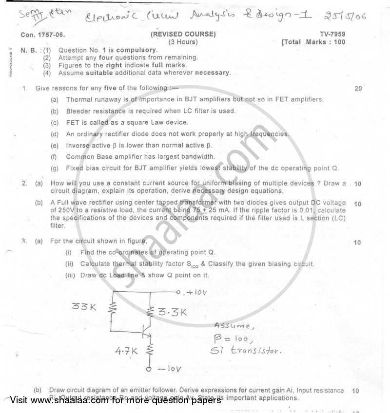 Question Paper - Electronic Circuit Analysis and Design 1 2005 - 2006 - B.E. - Semester 3 (SE Second Year) - University of Mumbai