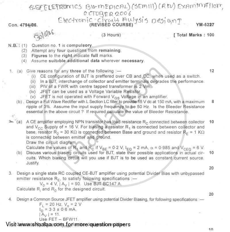 Question Paper - Electronic Circuit Analysis and Design 1 2006 - 2007 - B.E. - Semester 3 (SE Second Year) - University of Mumbai