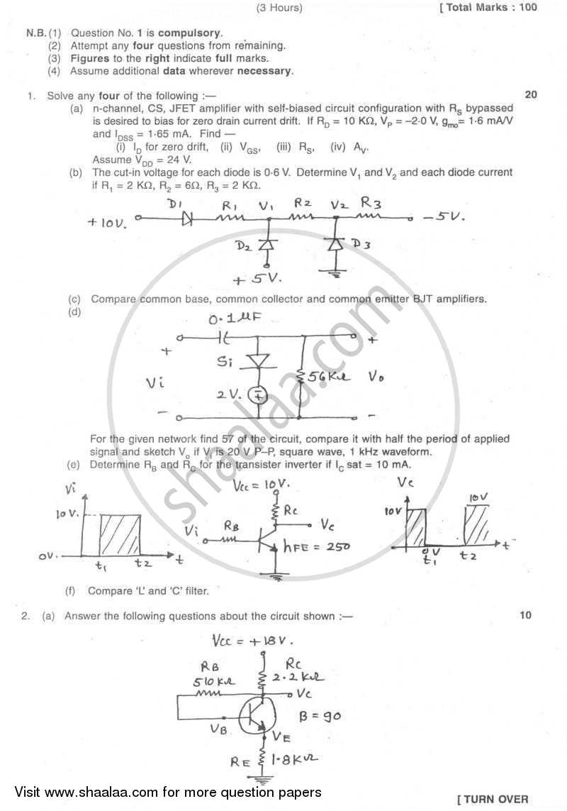Question Paper - Electronic Circuit Analysis and Design 1 2007 - 2008 - B.E. - Semester 3 (SE Second Year) - University of Mumbai