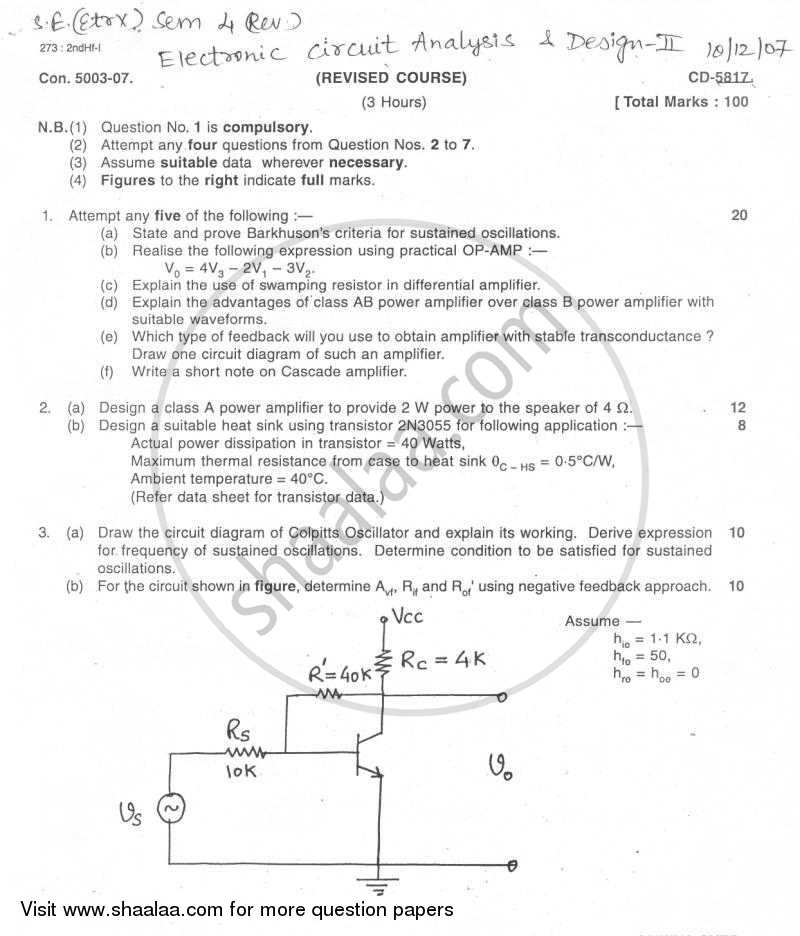 Question Paper - Electronic Circuit Analysis and Design 2007 - 2008 - B.E. - Semester 4 (SE Second Year) - University of Mumbai
