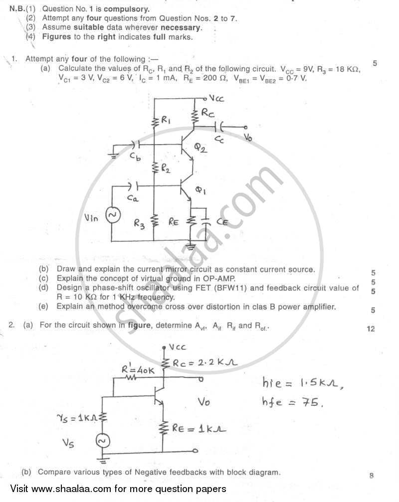 Question Paper - Electronic Circuit Analysis and Design 2007 - 2008-B.E.-Semester 4 (SE Second Year) University of Mumbai