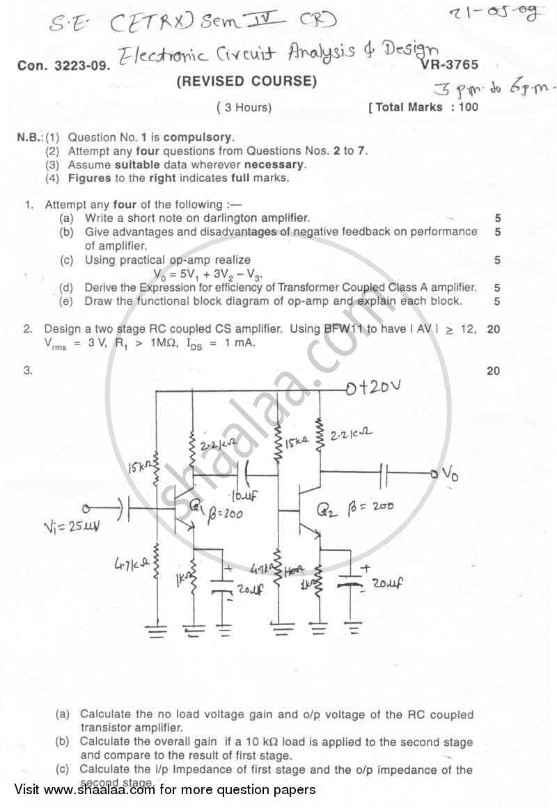 question paper be electronics engineering semester 4 (se second