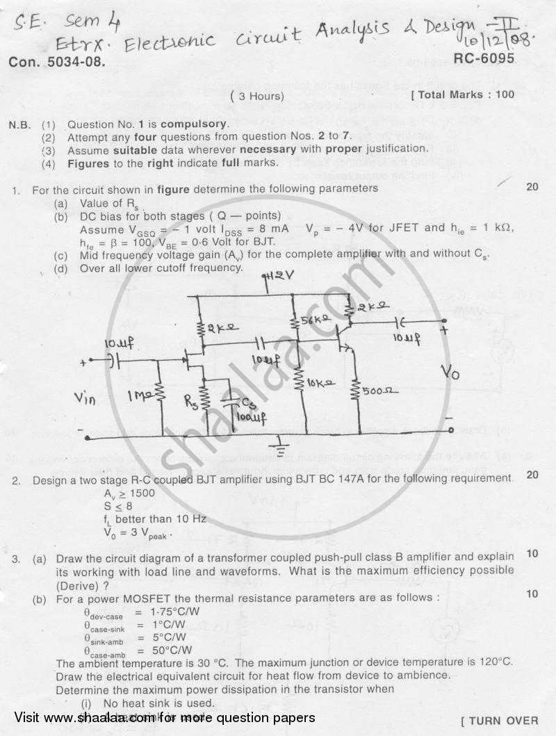 Question Paper - Electronic Circuit Analysis and Design 2008 - 2009 - B.E. - Semester 4 (SE Second Year) - University of Mumbai