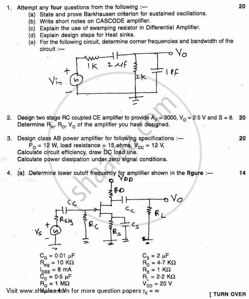 question paper be electronics engineering semester 4 (se secondquestion paper electronic circuit analysis and design 2010 2011 b e semester 4