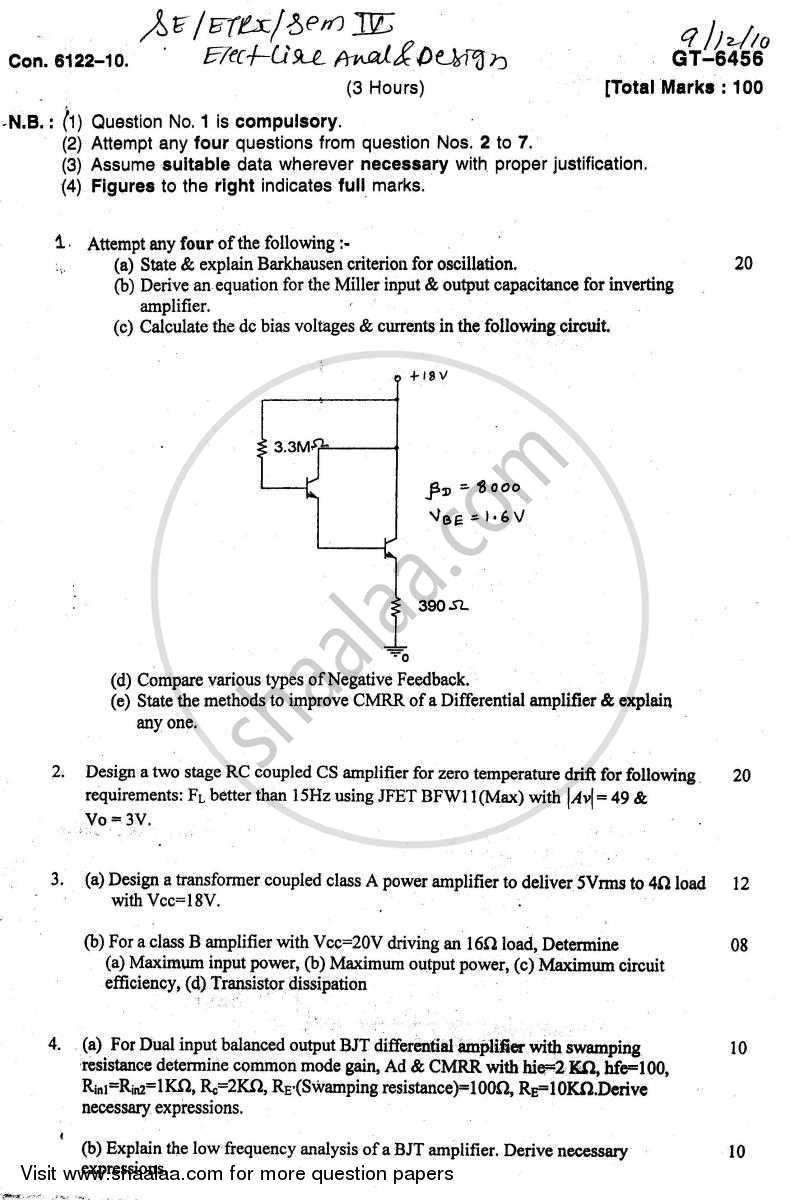 Question Paper - Electronic Circuit Analysis and Design 2010 - 2011 - B.E. - Semester 4 (SE Second Year) - University of Mumbai