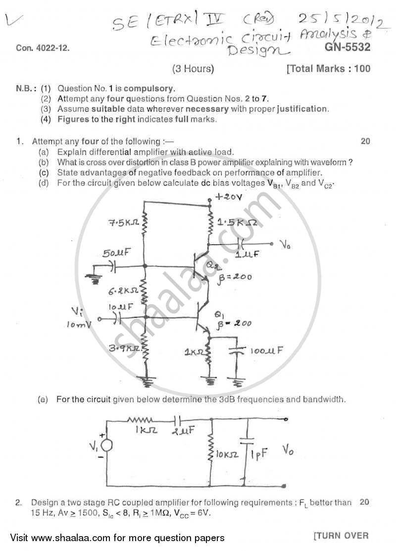 Question Paper - Electronic Circuit Analysis and Design 2011-2012 - B.E. - Semester 4 (SE Second Year) - University of Mumbai with PDF download