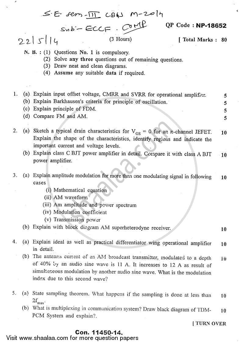 Question Paper - Electronic Circuits and Communication Fundamentals 2013 - 2014 - B.E. - Semester 3 (SE Second Year) - University of Mumbai