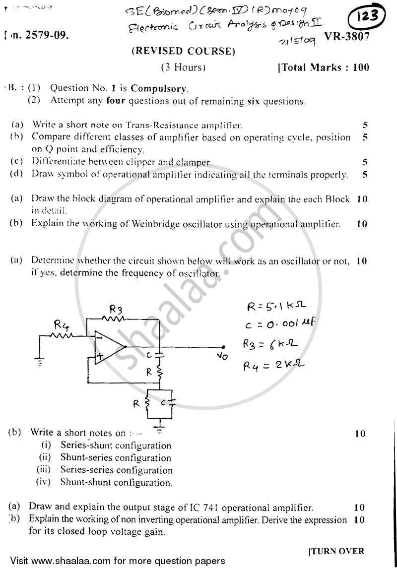 question paper be biomedical engineering semester 4 (se secondquestion paper be biomedical engineering semester 4 (se second year) electronic circuits and design 2 2008 2009 old with pdf download
