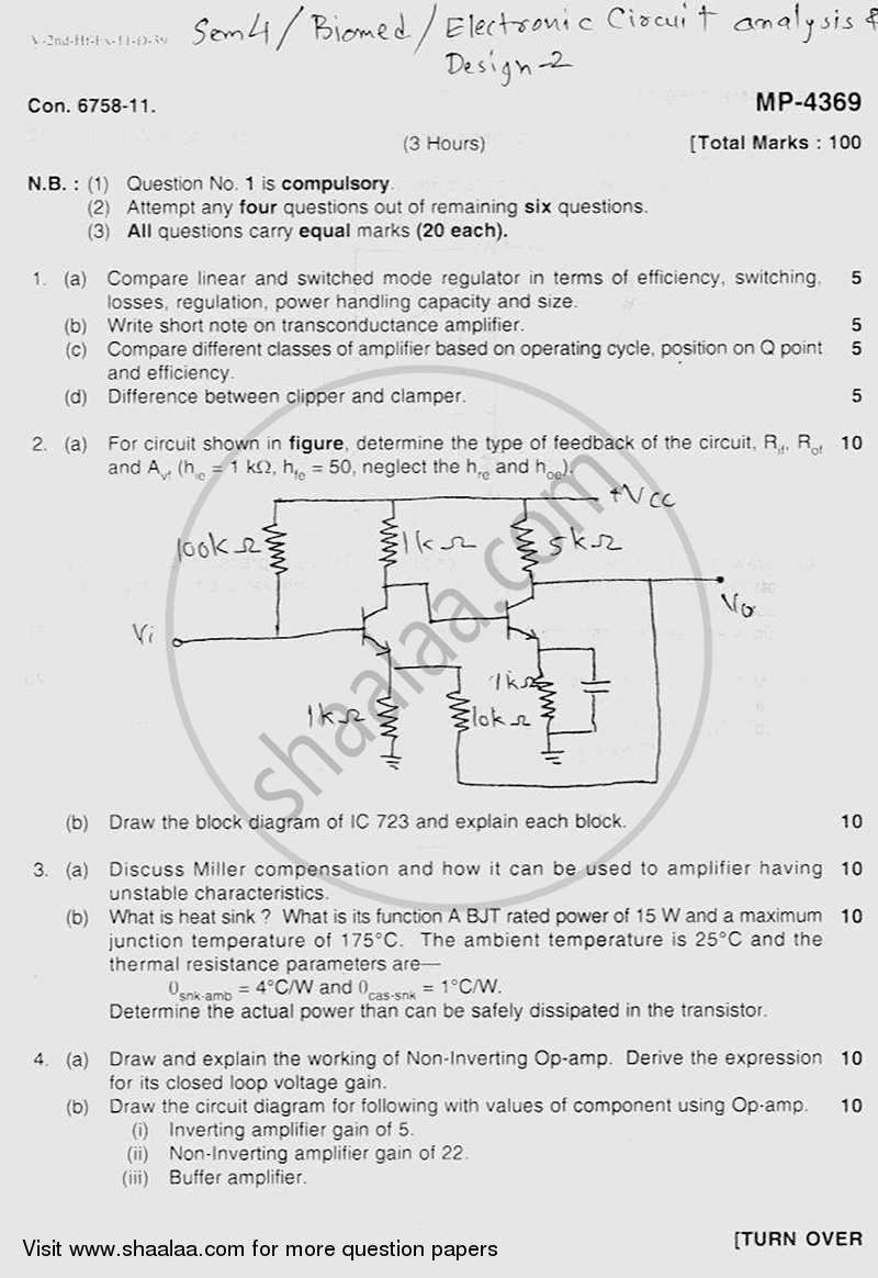 Question Paper - Electronic Circuits and Design -2 2011 - 2012 - B.E. - Semester 4 (SE Second Year) - University of Mumbai