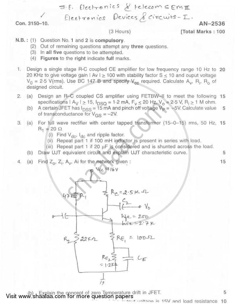 Electronic Devices and Circuits 1 2009-2010 - B.E. - Semester 3 (SE Second Year) - University of Mumbai question paper with PDF download