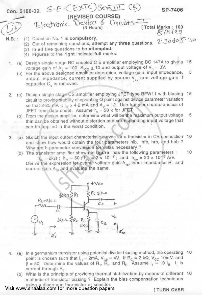 Question Paper - Electronic Devices and Circuits 1 2009 - 2010 - B.E. - Semester 3 (SE Second Year) - University of Mumbai