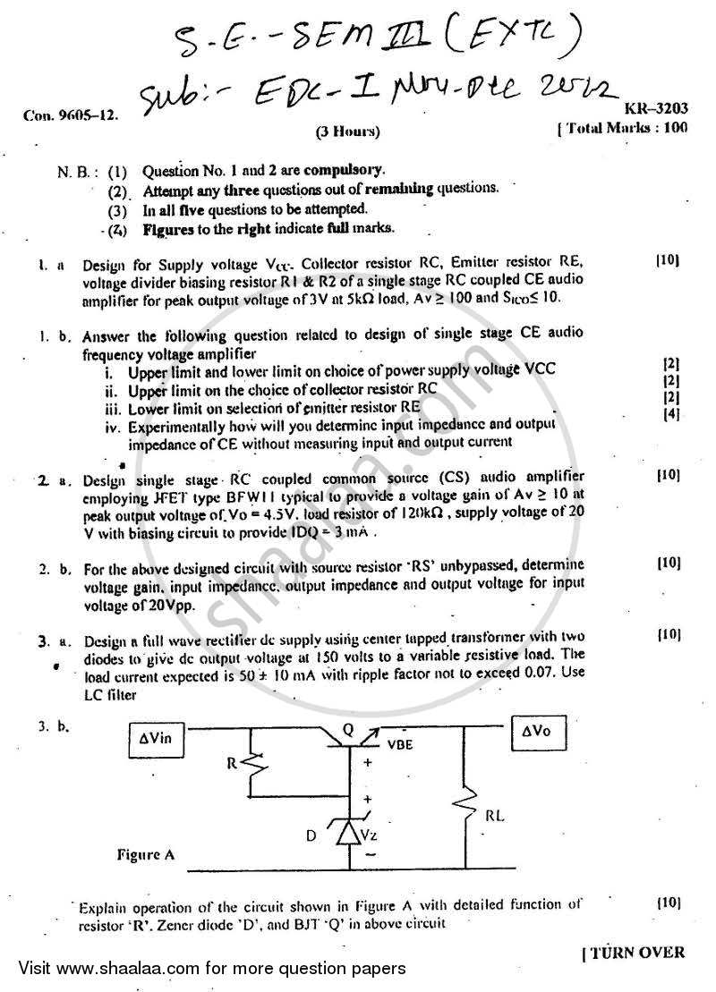 Question Paper - Electronic Devices and Circuits 1 2012 - 2013 - B.E. - Semester 3 (SE Second Year) - University of Mumbai
