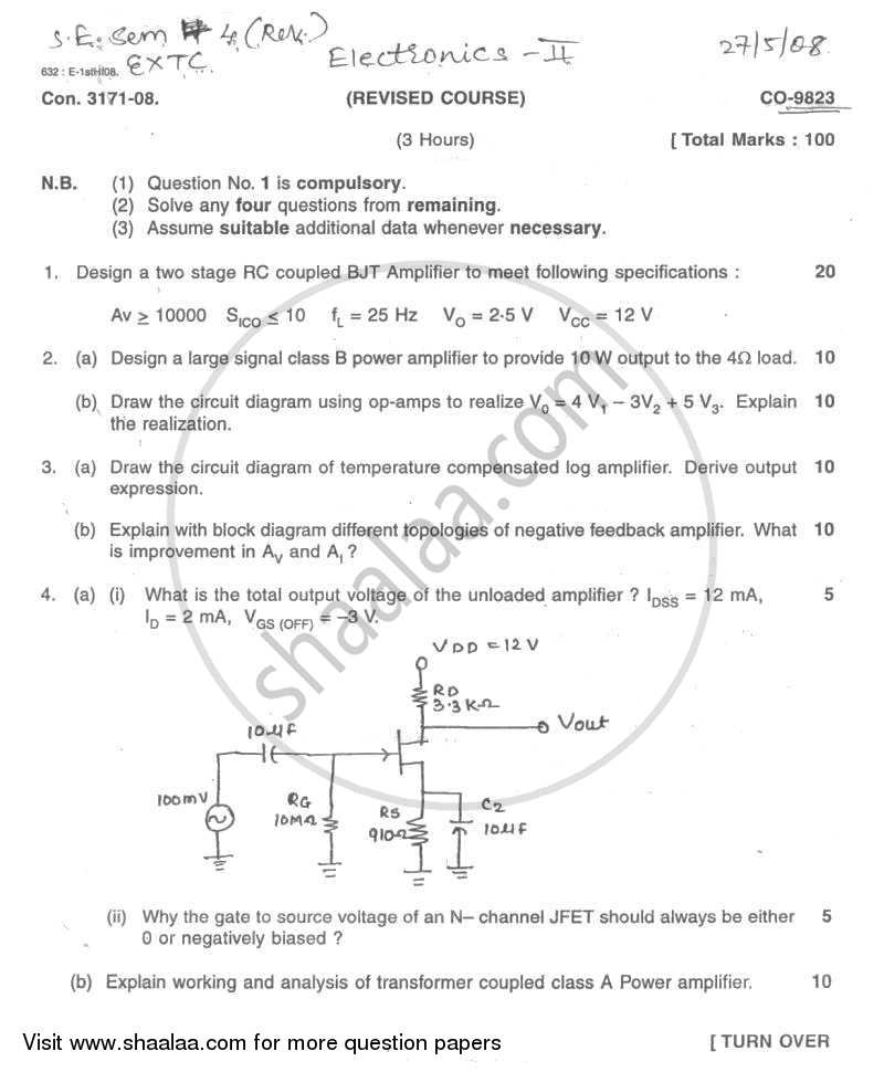 Question Paper - Electronic Devices and Circuits 2 2007 - 2008 - B.E. - Semester 4 (SE Second Year) - University of Mumbai