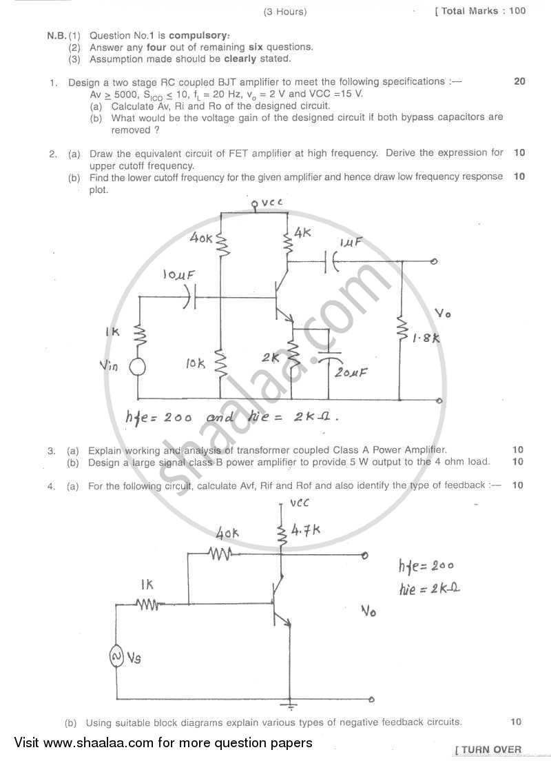 Question Paper Electronic Devices And Circuits 2 2007 2008 Be Electronics Communication Engineering Block Diagram Of Semester 4