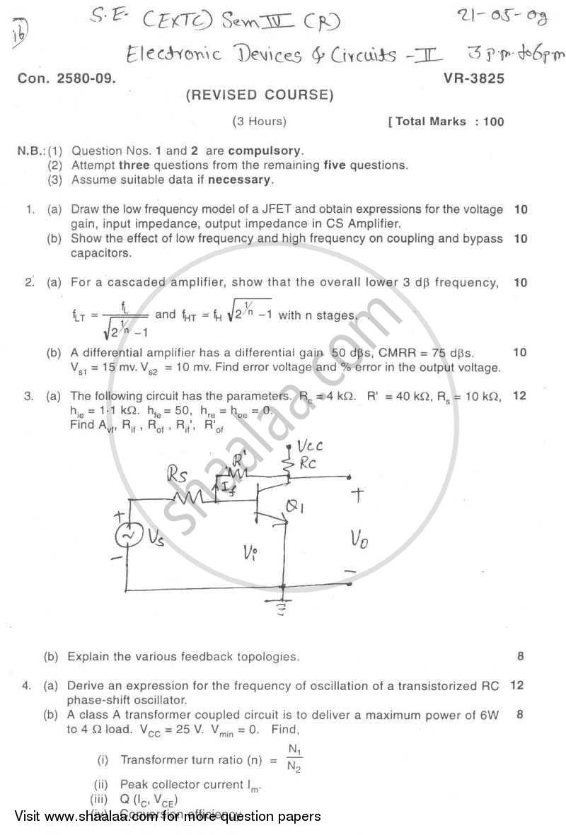 Question Paper - Electronic Devices and Circuits 2 2008 - 2009 - B.E. - Semester 4 (SE Second Year) - University of Mumbai