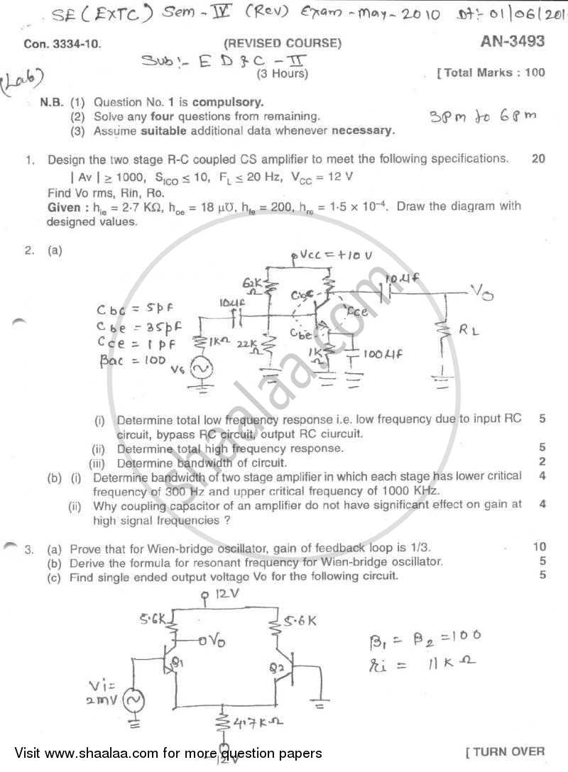 Question Paper - Electronic Devices and Circuits 2 2009 - 2010 - B.E. - Semester 4 (SE Second Year) - University of Mumbai